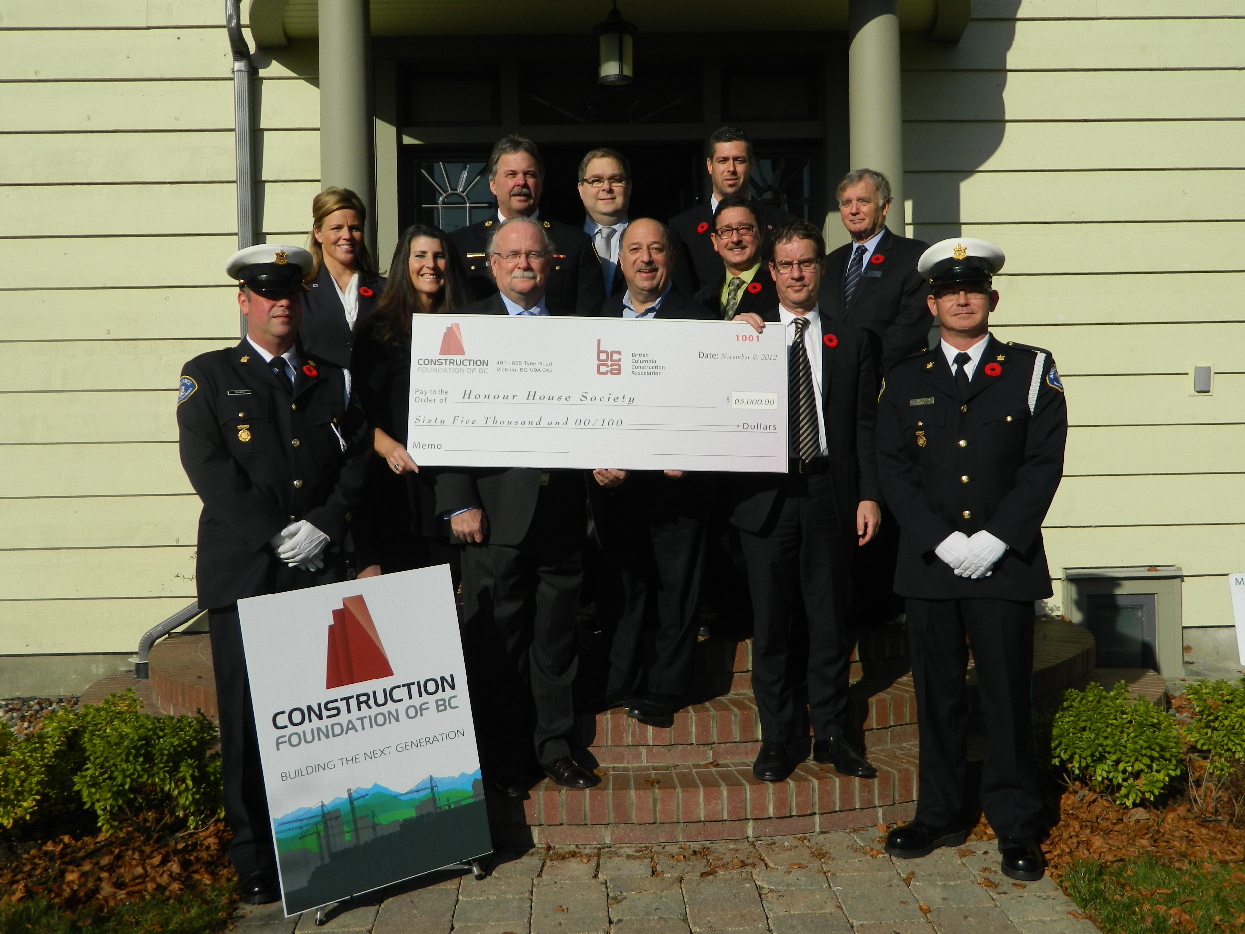 November 2012 Donation to Honour House